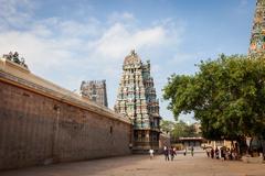 MADURAI, INDIA-FEBRUARY 16: Street of Indian city 16, 2013 in Madurai, India. - stock photo
