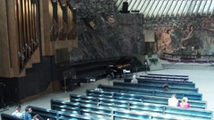 HELSINKI; FINLAND: Inside the Temppeliaukio Church - Church of the Rock Stock Footage
