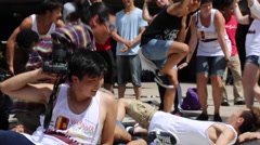 Young dancers on street, break dance battle - stock footage