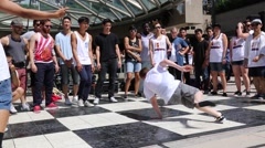 Breakdancer performing on street - stock footage