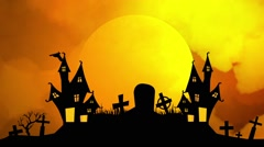 Halloween Background with Castle, Cemetery and Bats - stock footage