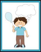 Cartoon boy with balloon and speech bubble Stock Illustration