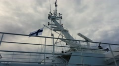 The radar of a Finnish ship with the flag of Finland Stock Footage