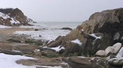 Winter, pristine coastline. - stock footage