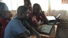 African Teachers And Students Using Computer In A Class In Rwanda Stock Footage
