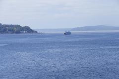 Ferry crosses Puget Sound Stock Photos