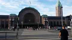Entrance of the Helsinki train station Stock Footage