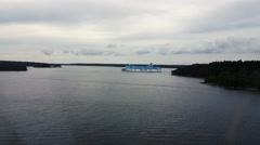 Stock Video Footage of A cruise ship in the Stockholm archipelago