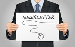 businessman holding newsletter poster - stock illustration