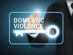 male hand pressing domestic violence key button - stock illustration