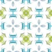 Seamless kaleidoscope texture or pattern in blue and green 1 Stock Illustration