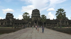 Zoom Out of Main Temple - Angkor Wat Temple - Time Lapse Stock Footage