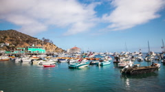 Time Lapse - Couldscape moving over Avalon Harbor in Catalina Island, California Stock Footage