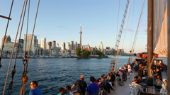 Toronto Sightseeing Sailboat Skyline Dusk Stock Footage