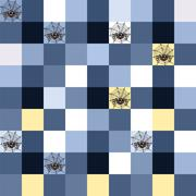 Seamless blue mosaic with spider motif Stock Photos