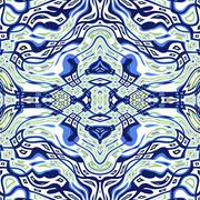 Seamless kaleidoscope texture or pattern in blue, white and green 1 Stock Illustration