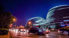 The panning view of Galaxy SOHO shopping mall in Beijing, China Stock Footage