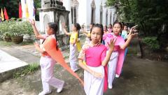 Thailand culture Dance Parade in Thai candle festival (The Buddhist Lent Day) - stock footage