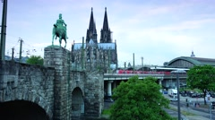 ULTRA HD 4K real time shot,The Cathedral of Cologne and the train station Stock Footage