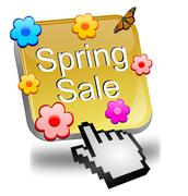 spring sale button with cursor - stock photo