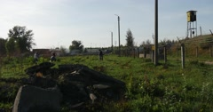 A Heap of Concrete Rubbish and a Gloomy Bob Wire, Protecting Some Oil Storage, Stock Footage