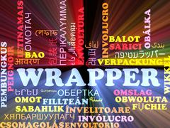 Wrapper multilanguage wordcloud background concept glowing - stock illustration