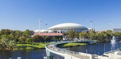 View of River Torrens and Adelaide Oval in Adelaide, Australia Stock Photos