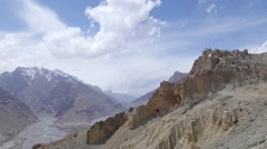 TIMELAPSE Dankhar village on cliff with clouds,Dankhar,Spiti,India Stock Footage