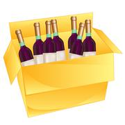 Box with wine - stock illustration
