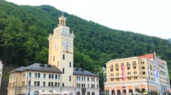 Sunset on the Rosa Khutor. Zoom. Time Lapse.  Sochi, Russia. 1280x720 Stock Footage