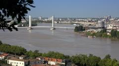 Bordeaux lift bridge over Garonne, time lapse Stock Footage