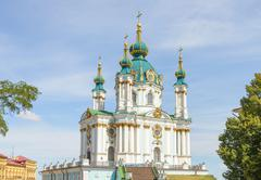 Andriyivskyy church  in Kiev Stock Photos