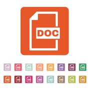 The DOC icon. Text file format symbol. Flat - stock illustration