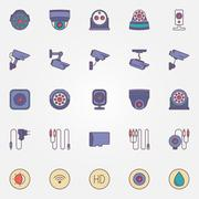 Surveillance cameras icon set - stock illustration