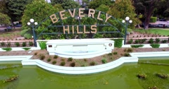 4K, Aerial view of Beverly Hills Sign, Los Angeles, California Stock Footage