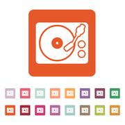 The turntable icon. DJ and melody, music, player symbol. Flat Stock Illustration