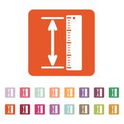The measuring height and length icon. Ruler, straightedge, scale symbol. Flat Stock Illustration