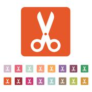 The scissors icon. Shears and clippers, cut off symbol. Flat Stock Illustration