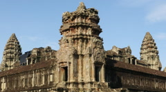 Zoom Out - Temple Ruins - Angkor Wat Temple Stock Footage