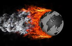 World with a trail of fire and smoke - globe - stock illustration