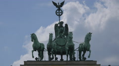 The statue on top of Brandenburg Gate, Berlin Stock Footage