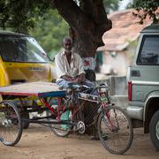 THANGAUR, INDIA-FEBRUARY 13: The old rickshaw 13, 2013 in Thangaur, India. Th Stock Photos