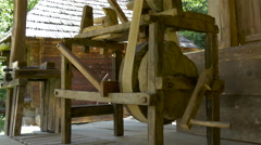 Old wooden lathe at the Open Air Museum in Sibiu Stock Footage