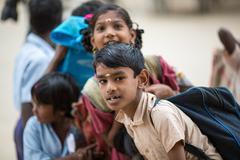 CHENNAI, INDIA-FEBRUARY 15: students on the streets of India on February 15,  - stock photo