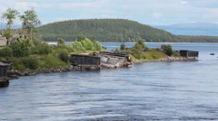 Village on Kovda River in north of Murmansk District, Russia Stock Footage