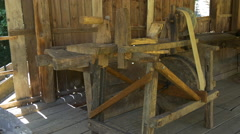 Wooden lathe at the museum in Sibiu Stock Footage