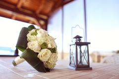 White wedding bouquet - stock photo