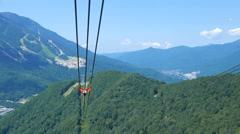 Cabs Gazprom cableway. Sochi, Russia. 4K Stock Footage
