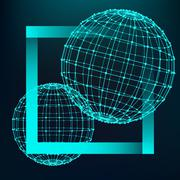 Mesh polygonal background. Scope of lines and dots. Ball of the lines connect Stock Illustration