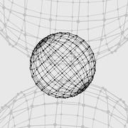 Stock Illustration of Mesh polygonal background. Scope of lines and dots. Ball of the lines connected